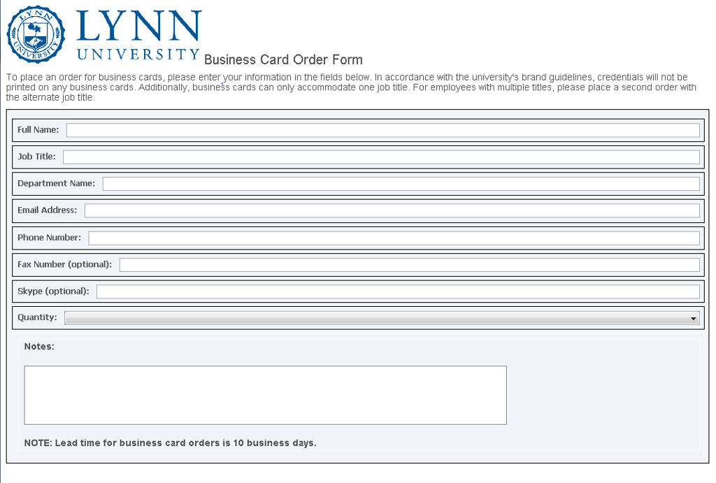 Business Card Order Form | myLynn (Beta)